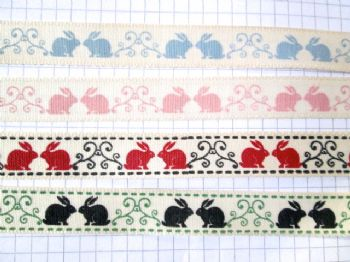 15mm Rabbit Grosgrain Ribbon choice of colour
